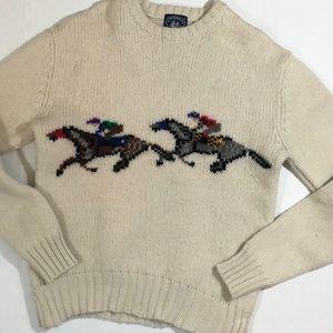 Vtg intarsia horse racing wool sweater